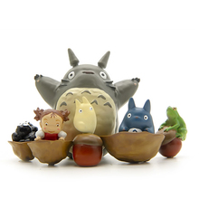 6pcs/lot DIY Anime My Neighbor Totoro Walnut Totoro Mei Fairy Dust PVC Action Figure Toys Collectible Model Kids Toy for Garden