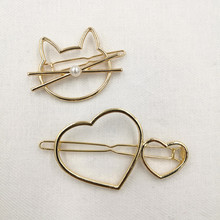 Timlee H048 Free shipping Grace Fashion Heart Cat Kitty Hair Clip Barrettes Girls Lovely Hair Accessary Gift(China)