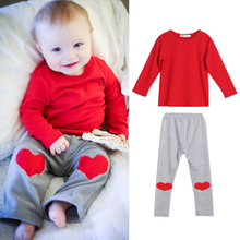 Baby's Red Clothing Set Kids Baby Boys Girls Cotton Long Sleeve T-shirt Tops Heart Print Pants Outfit Baby Clothes Set