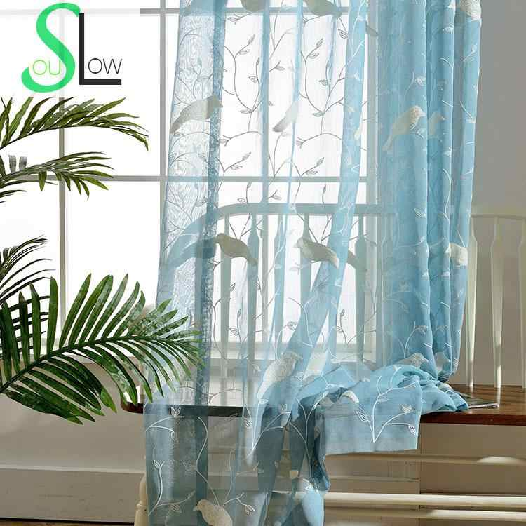 Slow Soul Powder Blue Towels Birds Pastoral Curtain Embroidered Animal Curtains Tulle For Living Room Kitchen 3d Sheer Bedroom