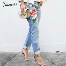 Simplee Floral embroidery jeans female Winter zipper straight denim pants jeans women Fashion pocket light blue trousers jeans