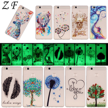 ZF 5 Styles Pattern Luminous Case For HUAWEI Honor 5X P9 P8/P9 Lite Soft TPU Night Light Glow in the Dark Phone Back Cover Shell