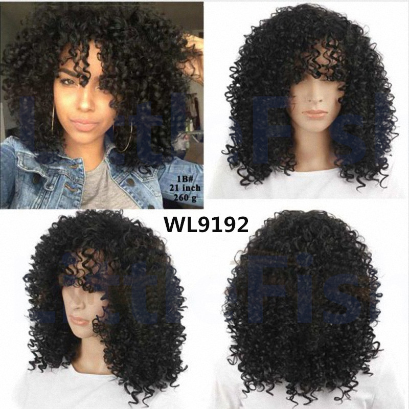 Cheap Sale Fiber Afro Kinky Curly Wigs Synthetic None Lace Wigs Curly Wig Bouncy Glueless Heat Resistant Hair Wigs Fast Shipping<br><br>Aliexpress