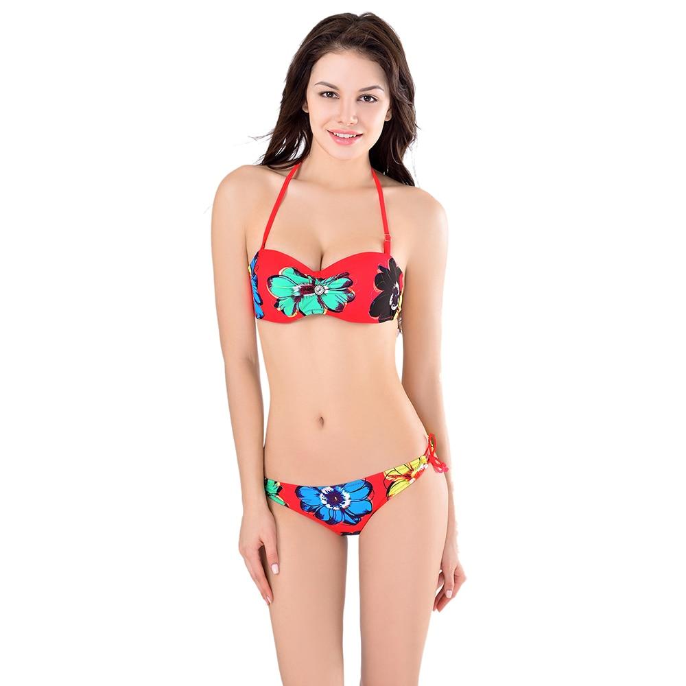 51353 Large size swimwearTwo Pieces Balconette bikini Agent Provocateur Double Push Up Bikini Womens 2017 Maios Indoor Swimsuit<br>