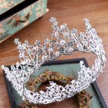 Baroque Retro Luxury Pearl Rhinestone Round Crown Bridal Wedding Jewelry Crystal Tiara Crowns Pageant Pom Dress Hair Accessories