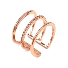 Micro pave 3 layers gold-color ring 2017 new trending rings for women jewelry bijoux gift(China)