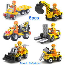 Mini City Construction Team Bulldozer Excavator Forklift Drill Flatbed Crane Cement Boy Building Block Toy Set For Kids Boy