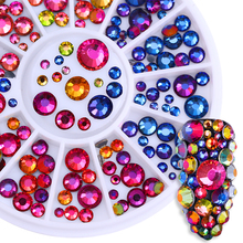 1 Box Chameleon Flame Nail Rhinestones Round Rainbow Multi-size Stud Flat Bottom Resin Manicure 3D Nail Art Decoration in Wheel