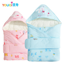 YOUQI Cartoon Rabbit Baby Receiving Blankets Newborn 1 3 6 9 M Baby Girls Boys Cotton Blankets Winter Autumn Warm Sleeping Bags(China)