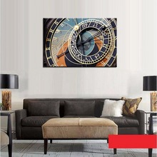 Clock Decorations Not Working Oil Painting on Canvas Clock Picture for Living Room Decor 3D Wall Art Customized and Wholesale