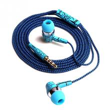 Rope Cloth Stereo Earphones Low MP3 Music with Micrphone for Cellphone MP3 MP4
