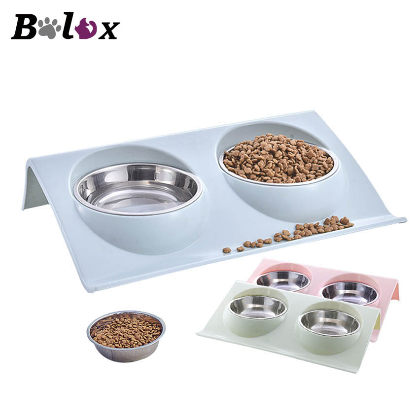Double Dog Bowls for Pet Puppy Stainless Steel Food Water Non Spill Feeder Pet Cats Feeding Dishes Dogs Drink Bowl