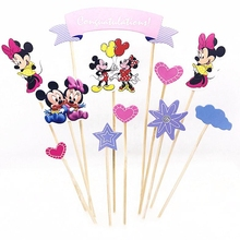 10Set Cartoon Mickey Minnie Mouse Cake Toppers Picks Cupcake Flag Star Heart child Birthday wedding Party Decoration Supplies