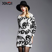 XIKOI New 2017 Oversized Sweater Women Pullover Fashion Batwing Sleeve Print Slash Neck Pullovers Knitted Jumper Woman Sweaters