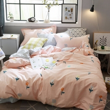 100% Cotton Pink Bedding Set Cactus Pattern Duvet Cover Gray Flat Sheet Cute Style Queen Size for Adult(China)