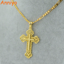 Anniyo Classic Cross Necklace for Women/Men Crucifix Pendant Women Gold Color Christian Catholic Jewelry #060202(China)