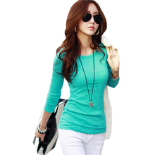 Buy Poleras De Mujer Moda 2017 Slim Knitted Striped Cotton T Shirt Women Clothes Womens Long Sleeve Tops T-Shirts Tee Shirt Femme for $9.34 in AliExpress store