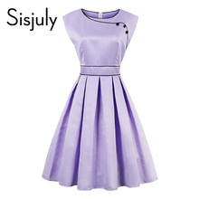 Buy Sisjuly Vintage Dresses 1950s Party Women Clothing Retro O-Neck Knee-Length Summer Lady Sleeveless A-Line Dresses Comfortable for $11.00 in AliExpress store
