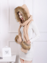 [Dexing] Faux Fur Hood Animal Hat Ear Long Scarf gloves Fur Hood Hat With Paws Beanie Cap Winter Hat for women(China)