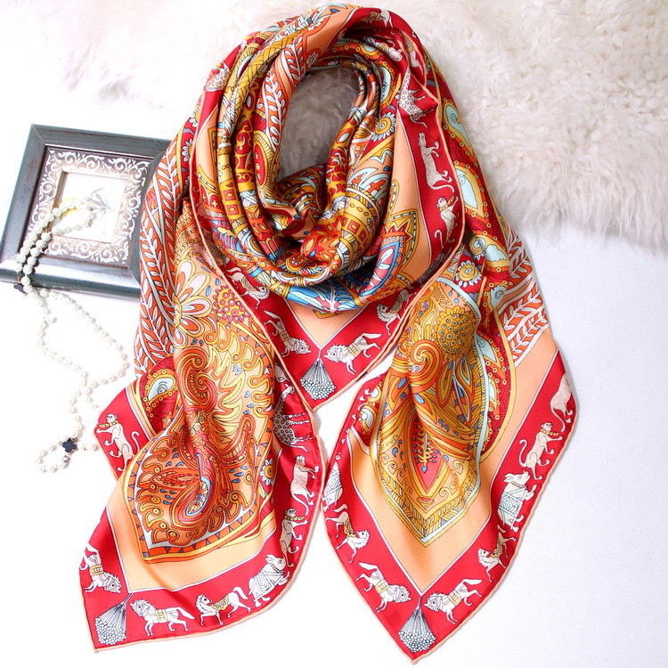 Grand Garden Floral Scarf for Women 100% Pure Twill Silk Scarf Big Bandana Luxury Brand Design Shawls Wraps 140*140cm
