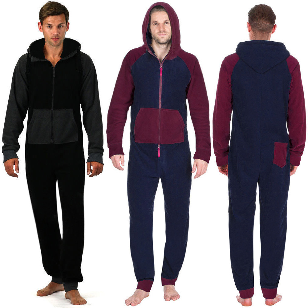 New Fashion Mens jumpsuits All In One Hooded Sexy Long Sleeve Zip Soft Indoor Trousers Male Casual Long Sexy Jumpsuit Hot Sale