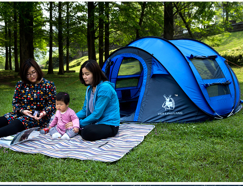 HYL camping pop up tent large 3-4 person windproof (2)