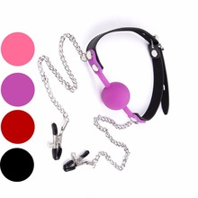 Buy Silicone Mouth Plug Ball Gag Metal Nipples Clamps Bdsm Slave Lockable Adult Games , Fetish Oral Sex Flirt Toys Women