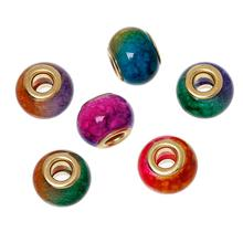 "Buy DoreenBeads European Style Charm Glass Beads Drum Random Multicolor 15mm (5/8"") x 11mm (3/8""),Hole: Approx 5mm,10 PCs for $1.50 in AliExpress store"