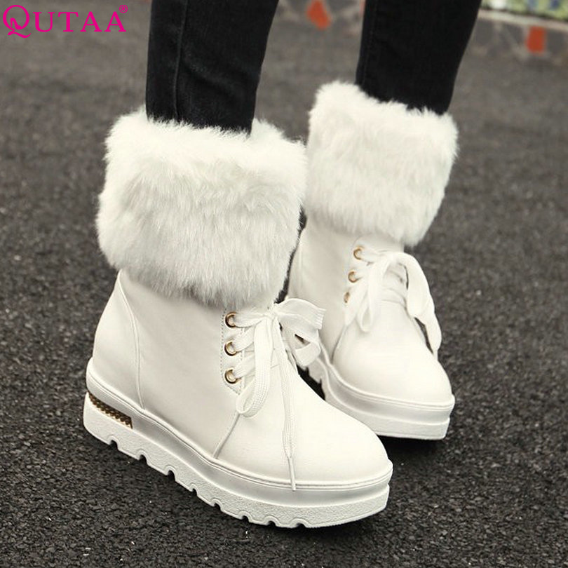 QUTAA Black Ladies Winter Shoes Women Ankle boots Height Increasing Med Heel Fashion Keep Warm Female Snow Boots size 34-43<br><br>Aliexpress