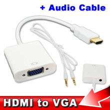 HDMI to VGA + Audio Cable Male To Female Built-in Chipset 1080p Video Converter Adapter For Xbox 360 Android TV Box Media Player(China)