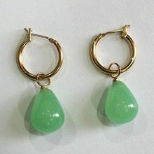 simplest Jewelry golden metal+water drop light green 12*16mm Jades bread Earrings(China)