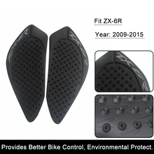 For Kawasaki ZX-6R ZX6R 2009-2015 2010 Motorcycle Anti slip Tank Pad 3M Side Gas Knee Grip Traction Pads Protector Stickers(China)