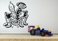 HWHD Wall Room Decor Art Vinyl Sticker Mural Decal Robot Read Motivation Kids Free Shipping(China)