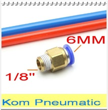 "10pcs a lot Pneumatic 6mm thread 1/8"" air straight hose fitting PC6-01 One touch tube quick connector"