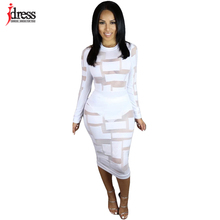 IDress Plus Size Autumn Women's Dress Bodycon Sexy Dress Club Factory Winter Wear Women Mesh Patry Dresses See Through Dress