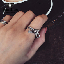 Zipper Made Retro Rings Hot Selling The Unique Design Fashion Cheap Jewelry  Antique Silver Plated Punk Alloy Ring R932