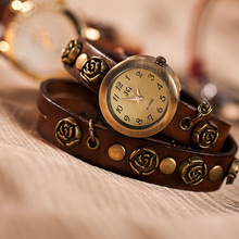 Hot sale vintage punk Genuine Cow leather watch Women ladies men fashion dress Quartz Wrist watch kow022
