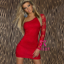 European And American Style Fancy Brand Clubwear Red Lace Sexy Mini One Shoulder Dress Women 2014 Party Club Dresses For Prom(China)