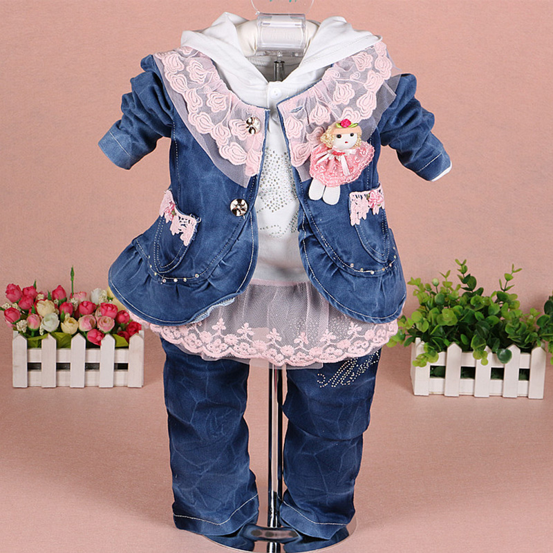 Fashion Baby Girls Clothing Set Spring Autumn Kids Girl 3pcs Denim Suit Lace Jackets Coat + Bottoming Shirts + Jeans Clothes<br>