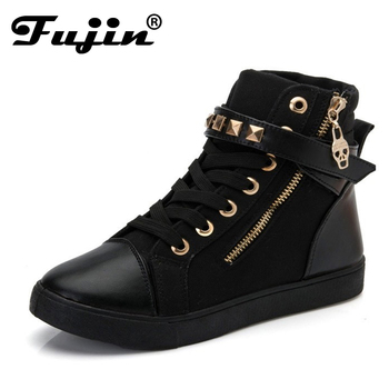 slipony brand Women's Shoes Autumn Low Boots  Casual Boots High Top Canvas High Shoes Female Zipper Rivets Casual Shoes botas
