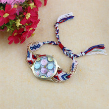 SmileOMG Hot Sale Women Watch Ice cream Pattern National Wind Weaved Bracelet Quartz Watch Women Christmas Gift ,Sep 16