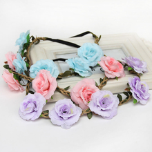 1 PCS Bohemian Rose Flowers Hair Band Wedding Bride Floral Garland Summer Flower Headband Crown Wreath Tiara Hair Accessories