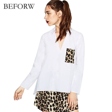 BEFORW Autumn Winter Casual Style Women Blouses Leopard Pattern V Collar Fashion Blouse Long Sleeves Long Section Blouse