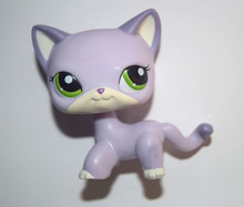 Pet Shop Animal Green Eyes Purple Cat Kitty Figure Doll Child Toy(China)
