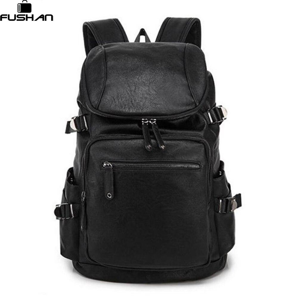 Fashion men backpack Vintage Waterproof leather bags Restore ancient ways travel backpack bag black men high school students<br>