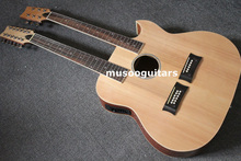 6/12 String Acoustic Electric Double Neck Guitar,with EQ and Bag