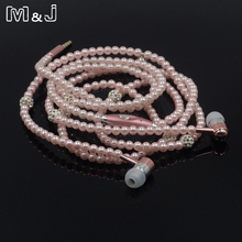 M&J New Fashion Women Earphones Luxurious Headphone Bling Pearl Necklace Earbuds Headset for Girls Girlfriend Gifts Mobile Phone