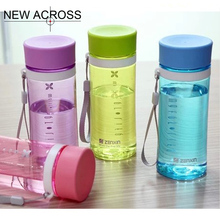 JUH QT 1Pcs A Sb8034 Water Bottle Plastic Bottle 400ml Fashion Lovers Candy Color For Camping With Lid Customized In Bulk