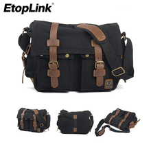 ETOPLINK Canvas Vintage DSLR SLR Camera Shoulder Bag Men's Vintage Canvas Leather Military Messenger Bag for Canon For Nikon