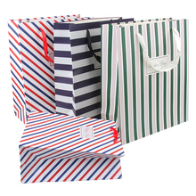 5pcs Stripe Horizontal Paper Gift Bags 23x18x10cm Middle Size Cloth Candy Chocolate Gift Packing For Fashion Shop Boutiques